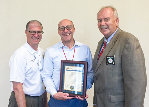 Stephen Kales presented with award at the Fire, Rescue International Conference in San Antonio, Texas